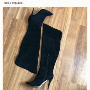 Rock Republic Black Suede Over the Knee Boots 7
